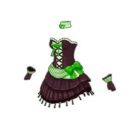 ドットミニリボンドレス(緑)