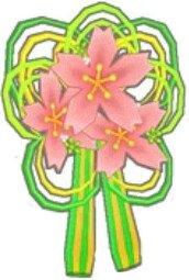 桜花の髪飾り(緑)