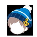 あったかニット帽 青