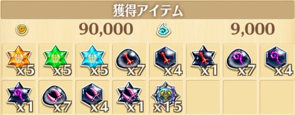 フルコースXの獲得報酬例