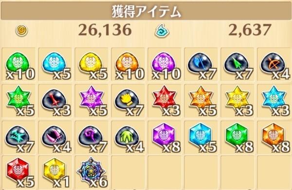 """星10""""続・デンジャラス楽しいパーティー""""の獲得報酬例"""