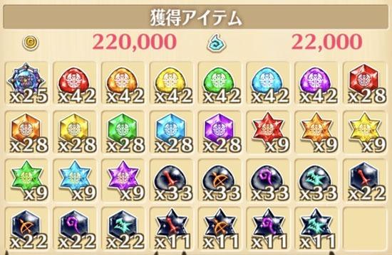 """星15""""ビリオン・ゴールド""""の獲得報酬例"""