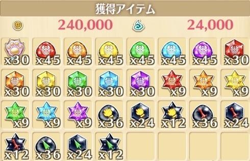 """星17""""フルシティ""""の獲得報酬例"""