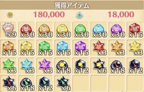 """星13""""ライト""""の獲得報酬例"""