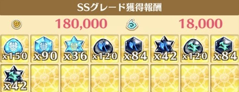 """星17""""氷泉の神殿 時の間""""の獲得報酬例"""