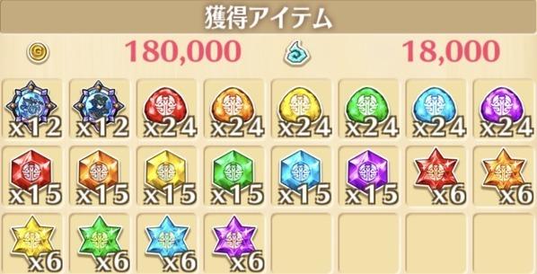 """星13""""腐ッタ夜""""の獲得報酬例"""