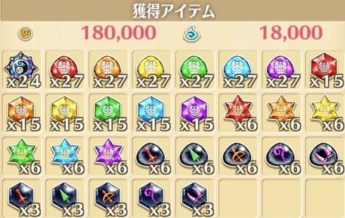 """星13""""お菓子の魔女<予兆>""""の獲得報酬例"""