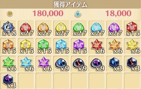 """星13""""オーシャン空手スペシャル道場""""の獲得報酬例"""
