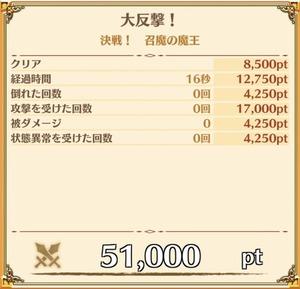 """ノーマル""""決戦! 召魔の魔王""""の獲得ポイント例"""