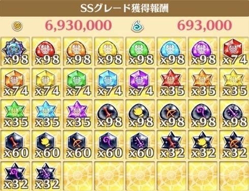 """星20""""魔王の再誕""""の獲得報酬例"""