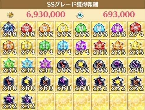 """星20""""暴魔天翔""""の獲得報酬例"""