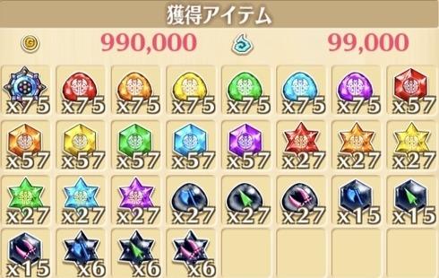 """星21""""ワンダフルイルミネーション!""""の獲得報酬例"""