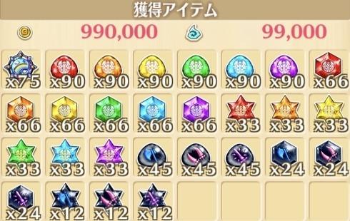 """星22""""デリュージダウンプア""""の獲得報酬例"""