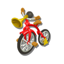 ラッパの自転車 赤